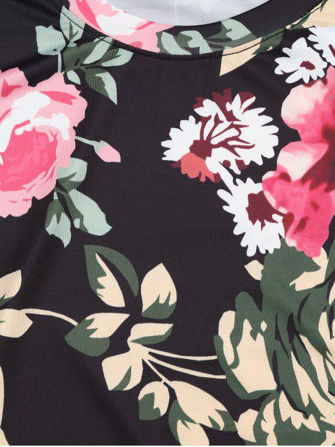 fancy Round Neck Floral Print Tee - FLORAL M Mobile