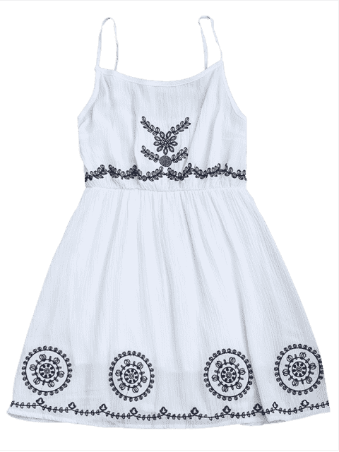 Patchwork Cami Mini Dress - Blanc TAILLE MOYENNE Mobile