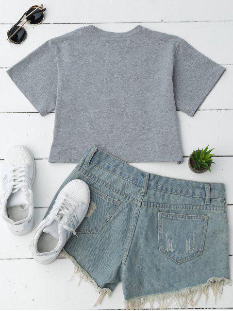 T-shirt à manches courtes motifs lettres - Gris S Mobile