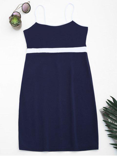 womens Two Tone Bodycon Slip Mini Dress - PURPLISH BLUE M Mobile