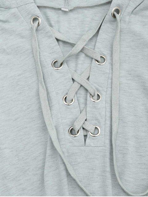 Manteau à capuchon à capuchon à lacets - Gris Clair XL Mobile