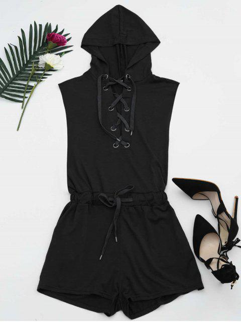online Lace Up Drawstring Hooded Romper - BLACK XL Mobile