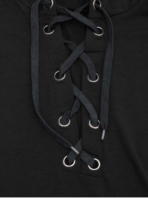 Manteau à capuchon à capuchon à lacets - Noir S Mobile