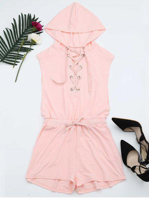 outfits Lace Up Drawstring Hooded Romper - PINK XL Mobile