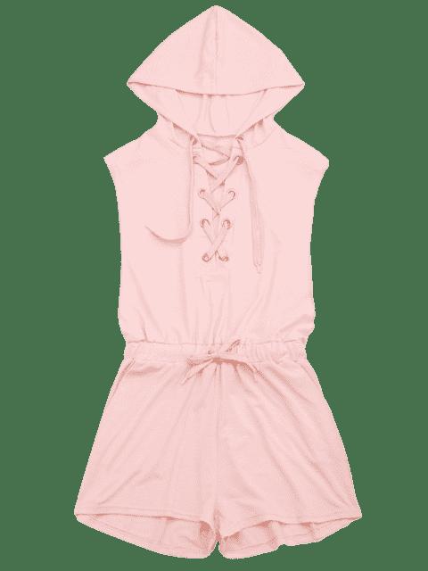 shops Lace Up Drawstring Hooded Romper - PINK M Mobile