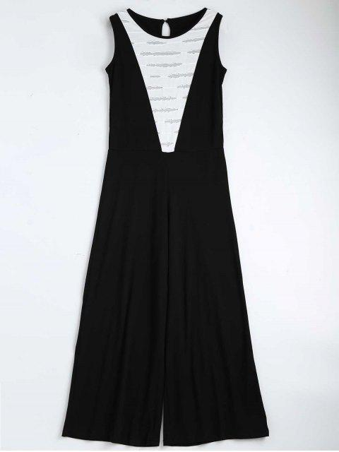 womens Contrast Ripped Sleeveless Jumpsuit - BLACK S Mobile