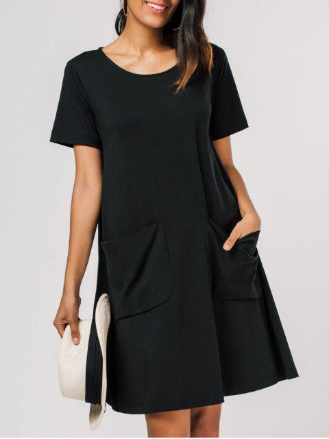 lady Pocket Scoop Neck Trapeze Tee Dress - BLACK XL Mobile