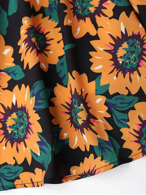 outfit Floral Hollow Out Criss Cross Mini Dress - BLACK XL Mobile