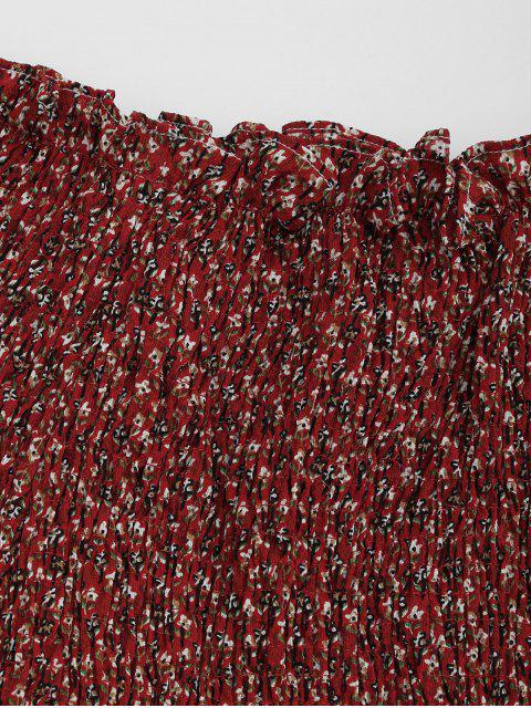 Robe à rayures en mousseline - Rouge vineux  S Mobile