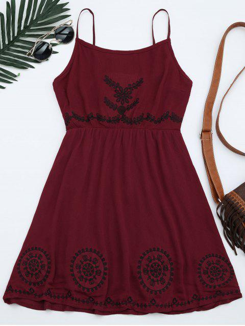 affordable Patchwork Cami Mini Dress - DEEP RED ONE SIZE Mobile