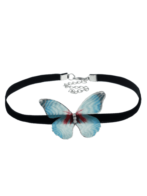 womens Embellished Butterfly Choker Necklace - GREEN  Mobile