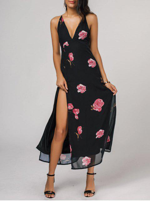unique High Cut Plunging Neck Floral Maxi Dress - BLACK S Mobile