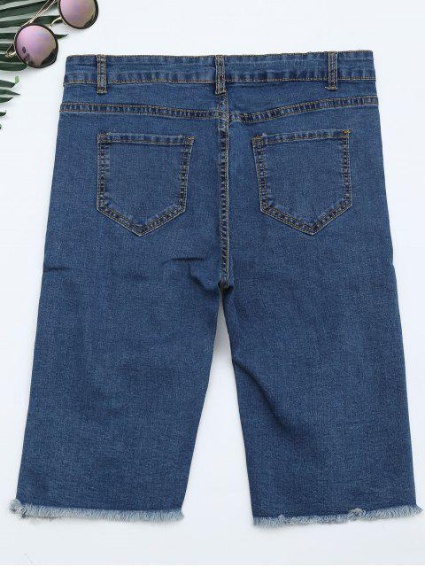 Ripped Cut Out Shorts Denim - Denim Bleu XS Mobile