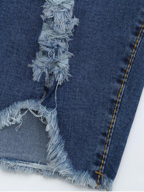 Ripped Cut Out Shorts Denim - Denim Bleu L Mobile