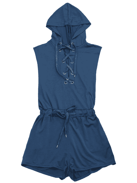 ladies Lace Up Drawstring Hooded Romper - CADETBLUE L Mobile