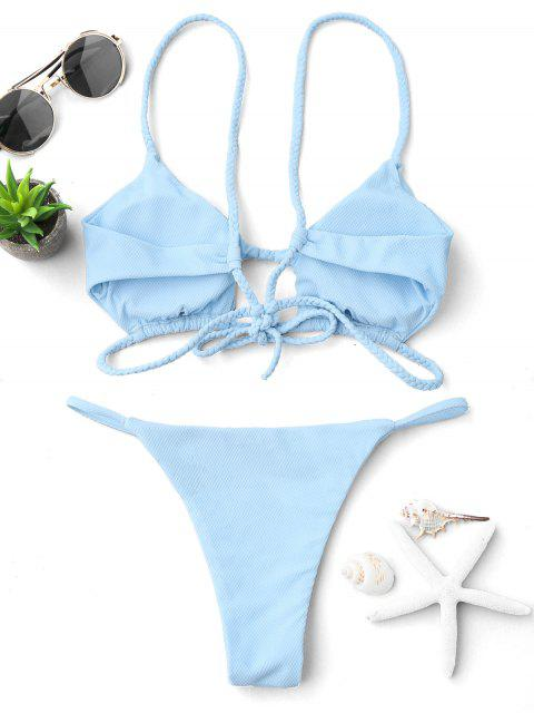 hot Cutout Braided Bralette String Bikini Set - LIGHT BLUE L Mobile