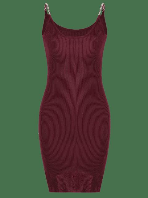 Robe grise en tricot et à rayures latérales - Rouge Foncé TAILLE MOYENNE Mobile