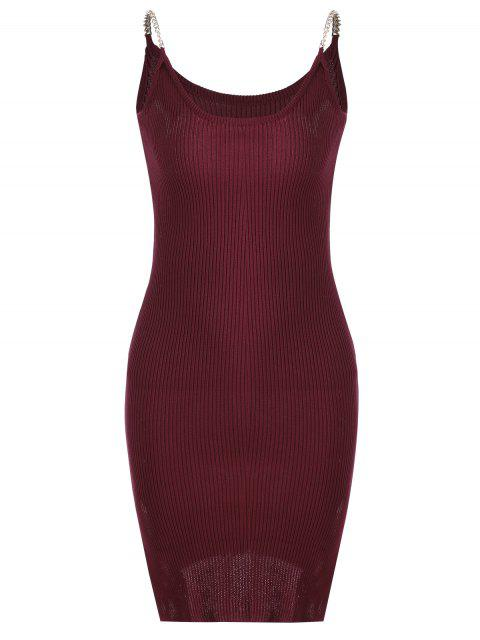 latest Side Slit Ribbed Cami Knitted Dress - DEEP RED ONE SIZE Mobile