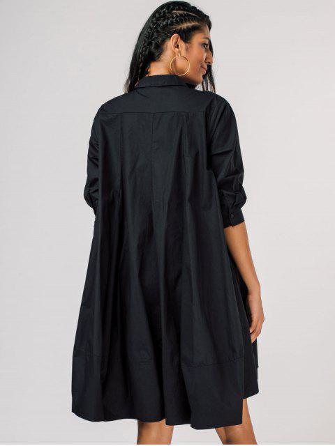 best Loose Side Pockets Trapeze Shirt Dress - BLACK ONE SIZE Mobile