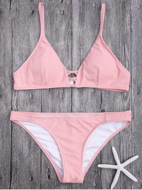 shop Criss Cross Spaghetti Strap Texture Bikini Set - PINK M Mobile