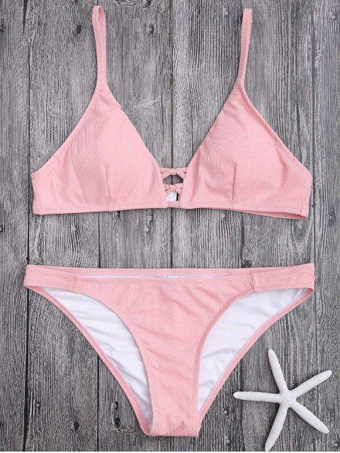 latest Criss Cross Spaghetti Strap Texture Bikini Set - PINK L Mobile