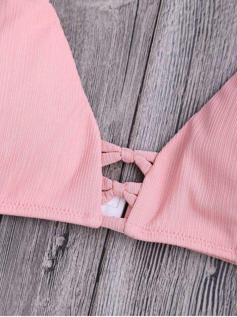 trendy Criss Cross Spaghetti Strap Texture Bikini Set - PINK XL Mobile