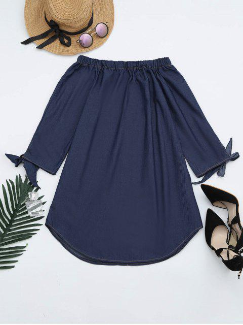 online Off The Shoulder Button Embellished Dress - DEEP BLUE M Mobile