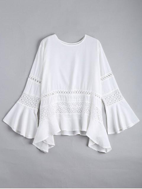 women's Hollow Out Flare Sleeve Asymmetric Blouse - WHITE XL Mobile