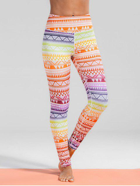 shop High Waisted Geometric Print Gym Yoga Leggings - COLORMIX S Mobile
