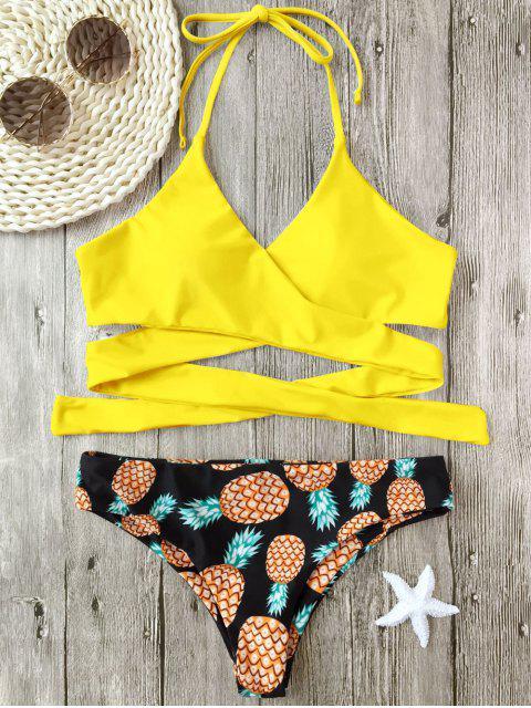 Bikini Enveloppant Imprimé Ananas à Col Halter - Jaune XL Mobile