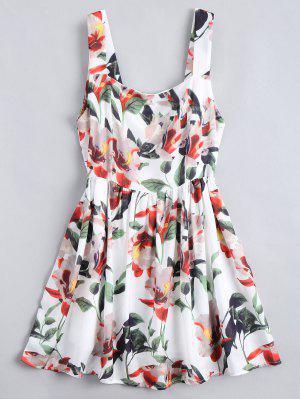 Mini Robe A Ligne Imprimée Florale Zippée Au Dos  - Floral M