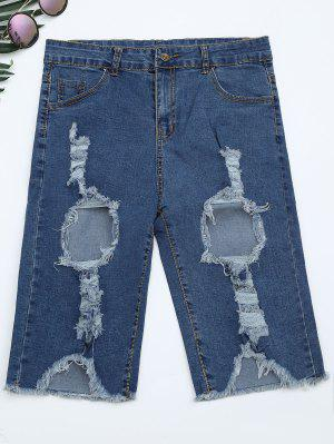 Ripped Cut Out Shorts Denim - Denim Bleu Xs
