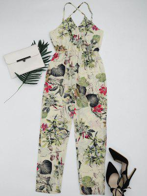 Leaves Print Criss Cross Cami Jumpsuit - Multi L