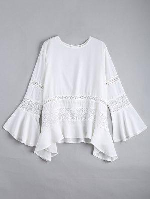Hollow Out Flare Sleeve Asymmetric Blouse - White S