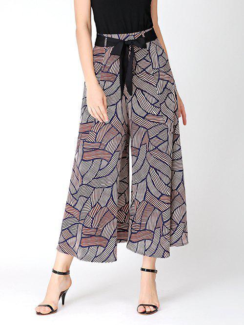 Print Bowknot Belted Wide Leg Pants 216918303