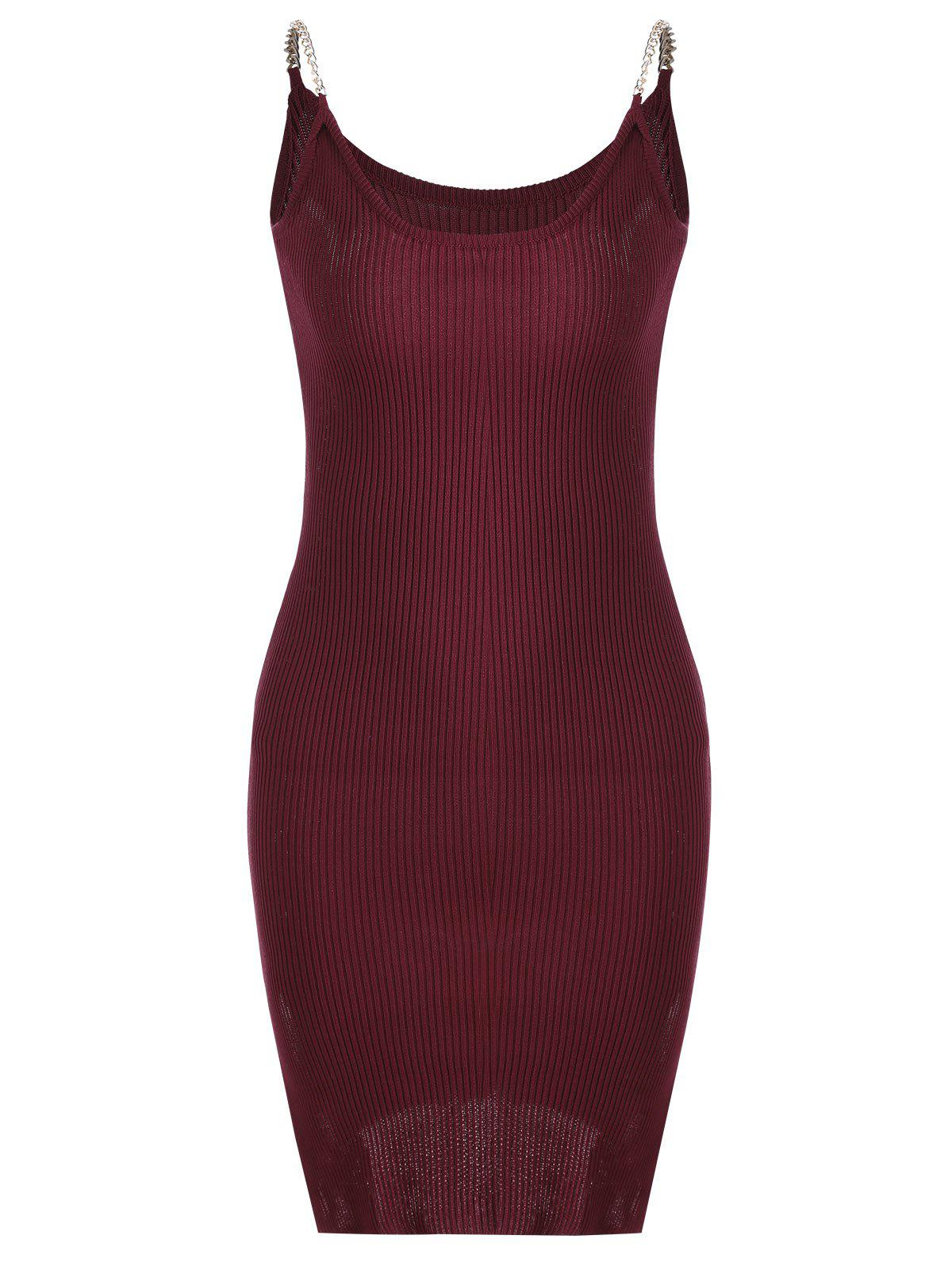 Side Slit Ribbed Cami Knitted Dress 216956402
