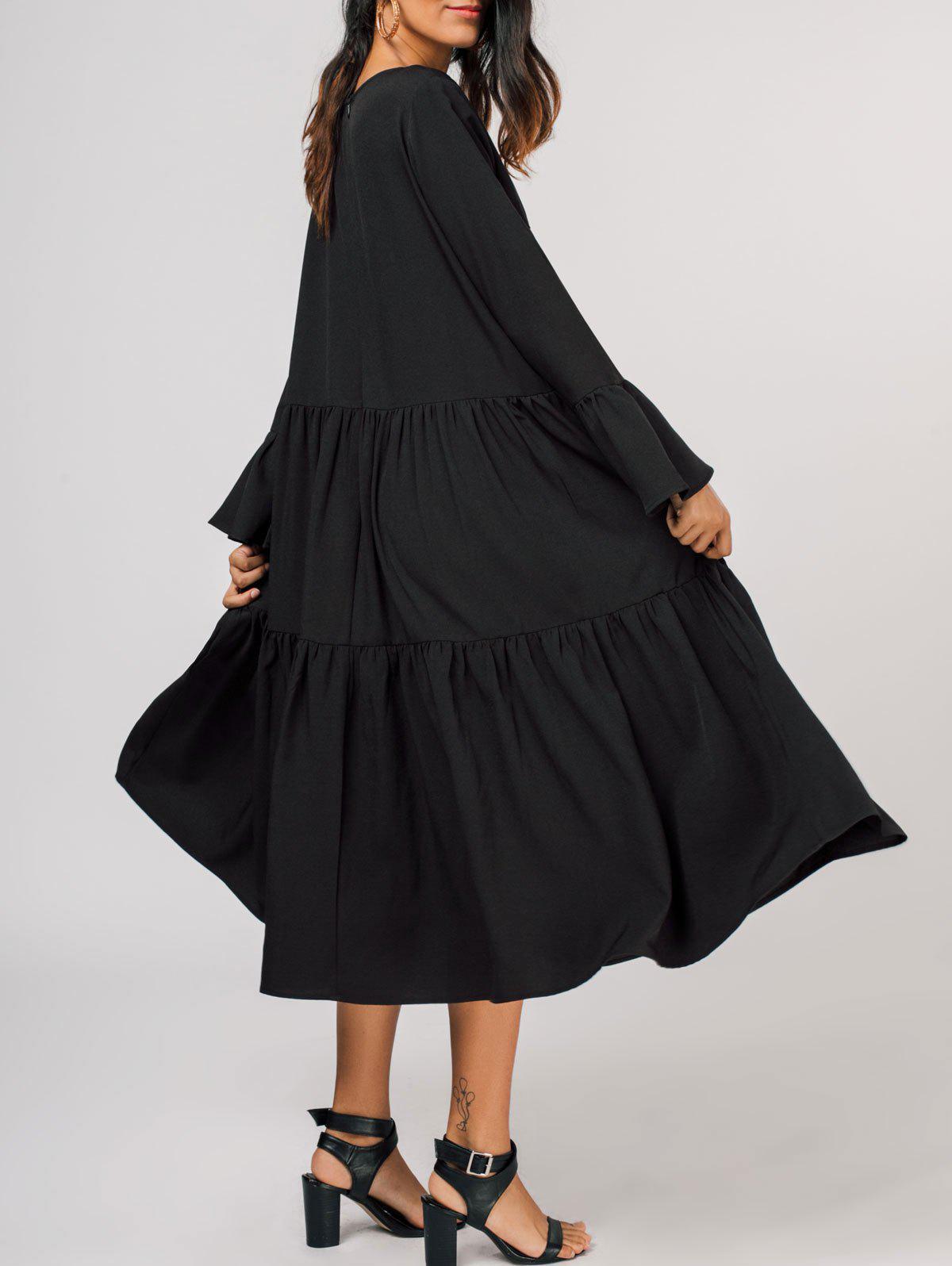 Livelli Flare Manica Midi Dress