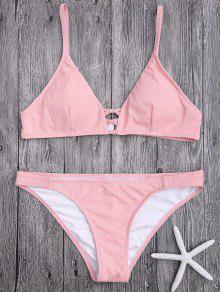 Criss Cross Spaghetti Strap Textura Conjunto De Bikini - Rosa L