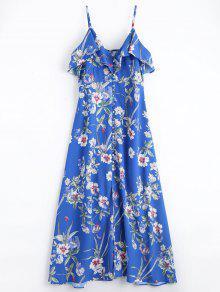 Button Up Floral Ruffles Maxi Dress - Blue L