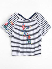 Stripes Floral Embroidered Bowknot Top - Stripe S