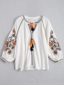 String Tassels Embroidered Blouse - White M