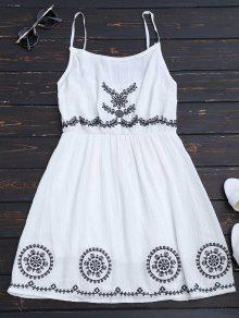 Mini Vestido Con Tirante Fino Con Patchwork - Blanco
