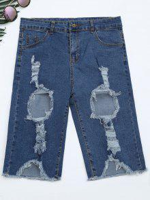 Ripped Cut Out Denim Shorts - Denim Blue Xl