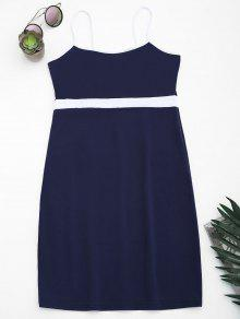 Two Tone Bodycon Slip Mini Dress - Purplish Blue S