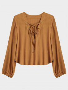 Lace Up Plunging Neck Blouse - Earthy S