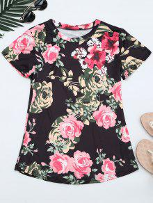 Round Neck Floral Print Tee - Floral L