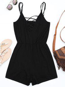 Strappy Criss Cross Cotton Romper - Black S