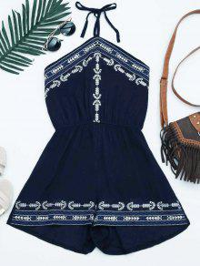 Embroidery Patched Halter Romper - Purplish Blue
