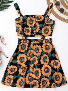Floral Cut Out Half Buttoned Mini Dress - Black M
