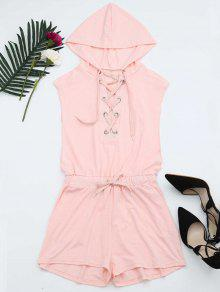 Lace Up Hooded Romper